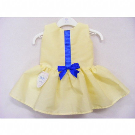 Lemon Dress with  Royal Blue Ribbon Detail